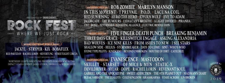 Rock Fest 2019 Starring Rob Zombie Five Finger Punch Evanescence Marilyn Manson Breaking Benjamin Mastodon And Many Many More Rock Legends